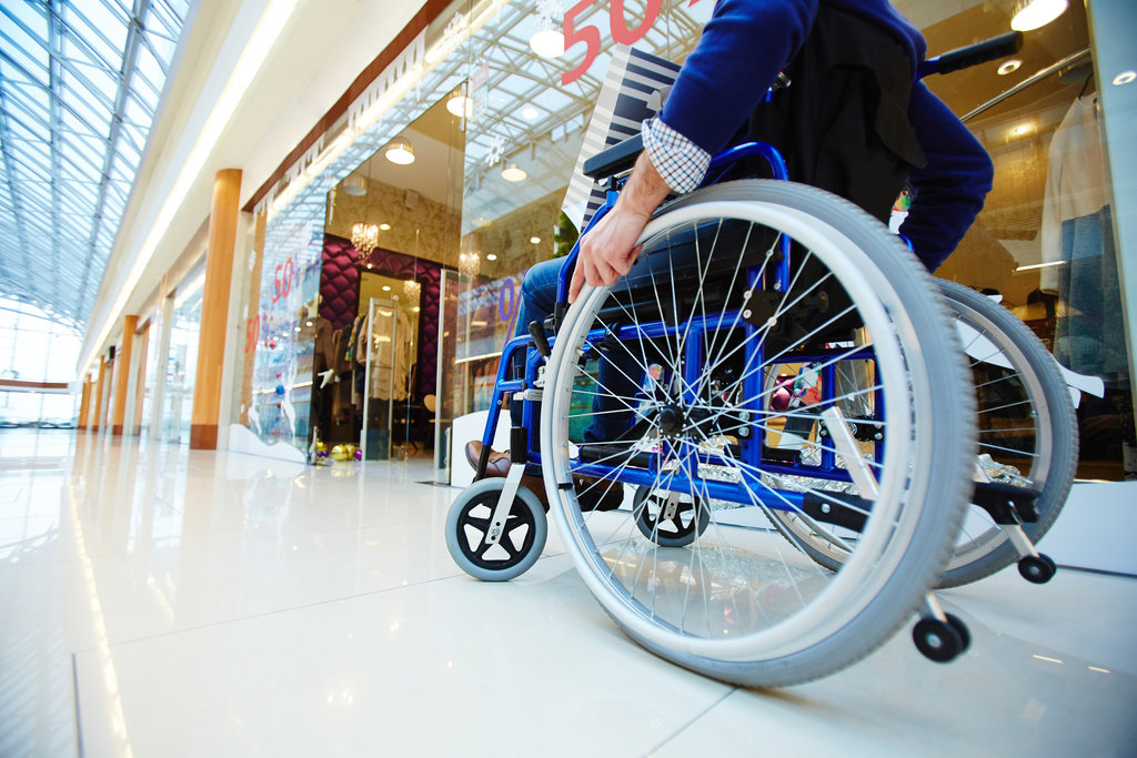 wheelchair in shopping centre