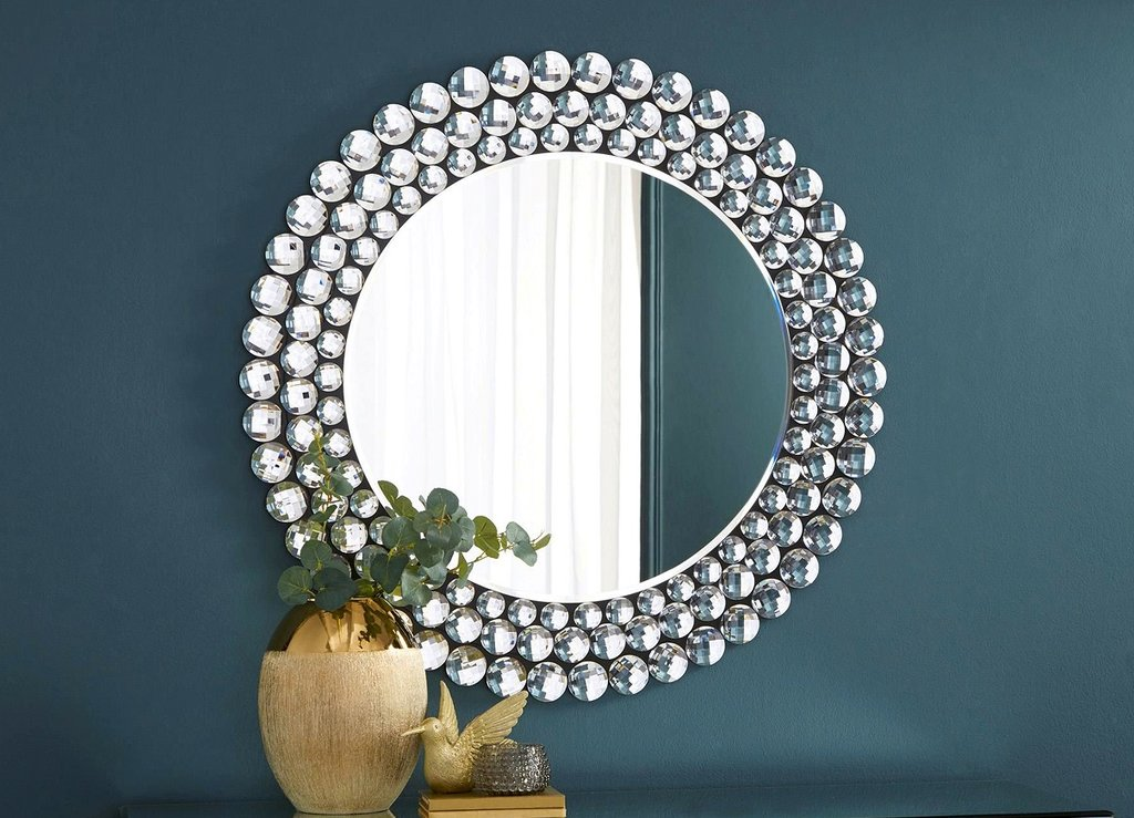 Mirror on navy wall