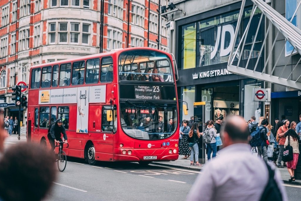A bus on Oxford Street in London