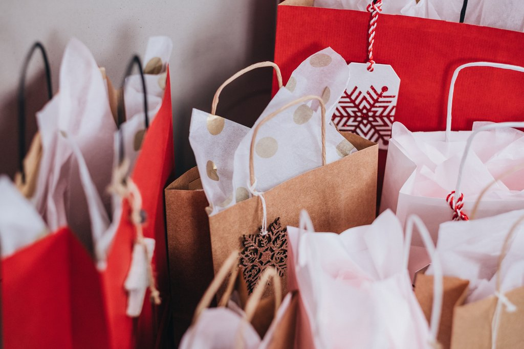 Shopping bags with presents