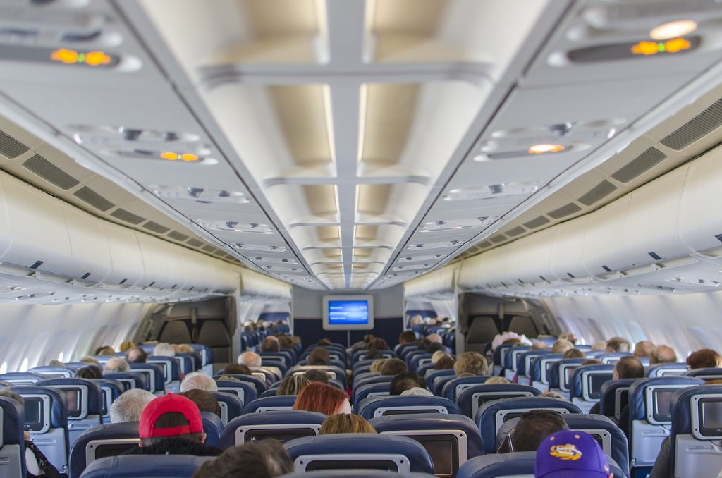 Aircraft cabin during a flight