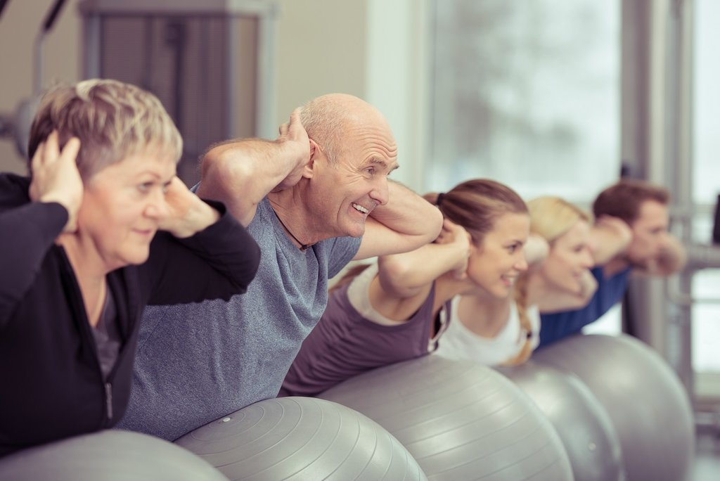 older people in fitness class
