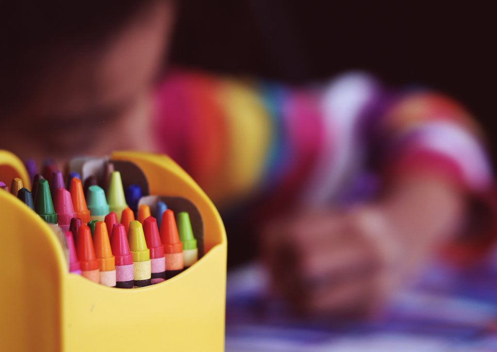 Child using crayons