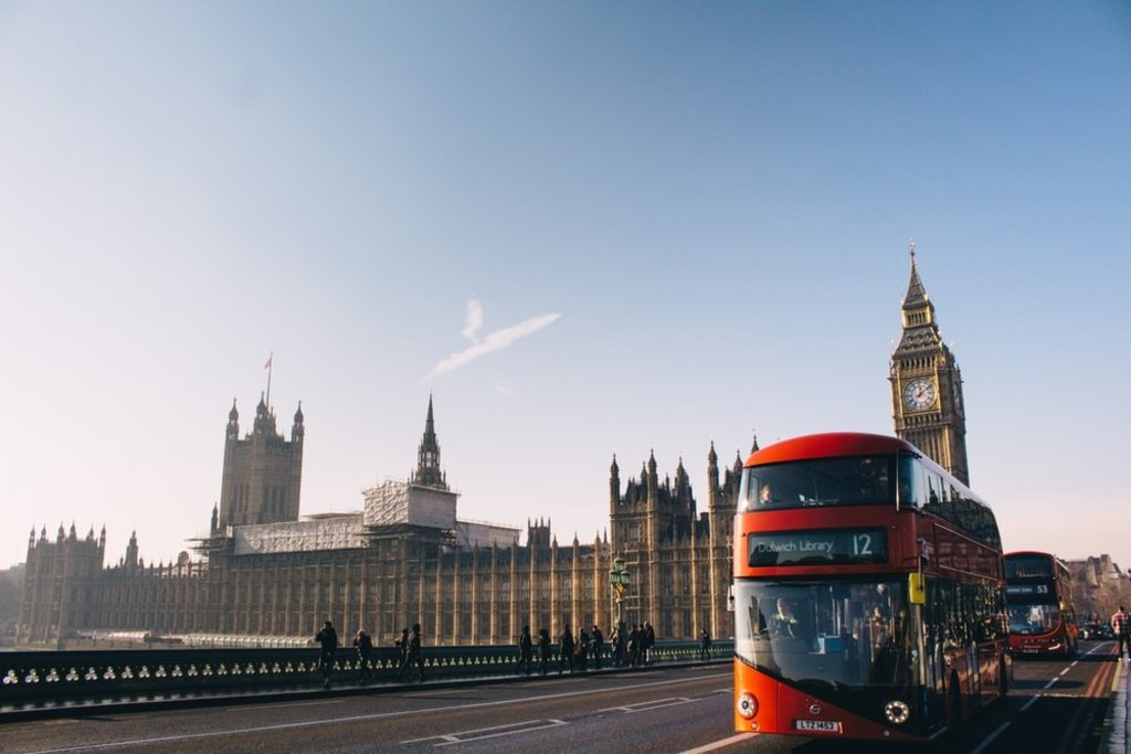 A bus by the Houses of Parliament in London